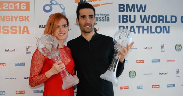 Gabriela Soukalová a Martin Fourcade