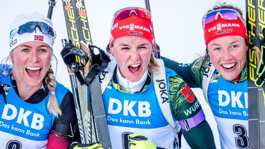 Medailistky stíhacího závodu žen na MS v Östersundu 2019